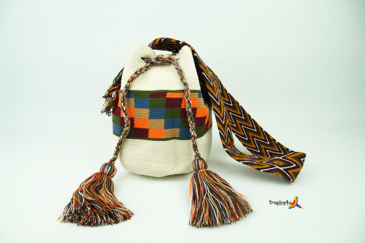 Mochila Wayuu Grande- Weiss-Orange