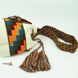 Mochila Wayuu Grande- Weiss-Orange