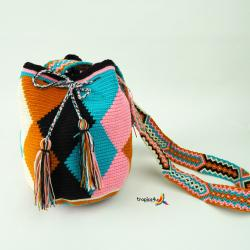 Mochila Wayuu Mediana- Rosa - Hell Blau -Weiss