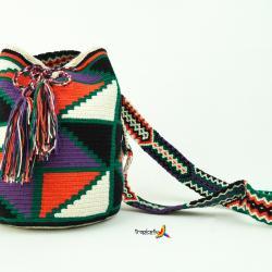 Mochila Wayuu Mediana- Schwarz- Dunkel Lila- Orange