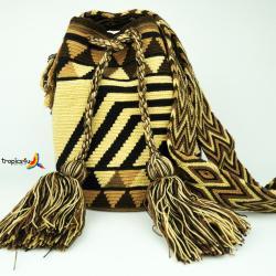 Mochila Wayuu Grande- Braun- Gelb-Schwarz