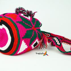 Mochila Wayuu Mediana- Fuchsie - Grün