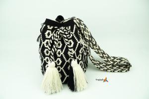 Mochila Wayuu Grande- Schwarz - Weiss